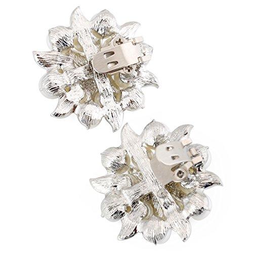 Clips 2 AE Pearl Fashion Mujer ElegantPark Pcs Clips Plateado zapato Accesorios Rhinstones 8wzUqUEdxn
