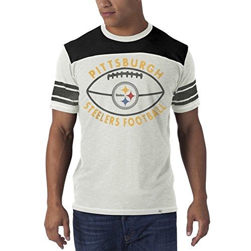 Throwback Pittsburgh Steelers Helmet (NFL Pittsburgh Steelers Men's Halfback Tee, Medium, White Wash)