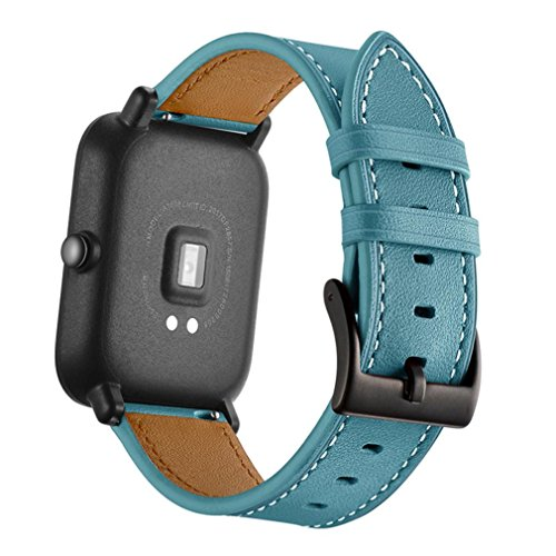 "Price comparison product image SUKEQ For AMAZFIT Watch Band,  Vintage Soft Leather Replacement Strap Adjustable Sport Wristband Bracelet Accessories for Xiaomi Huami Amazfit Bip Youth Watch,  Fits 5.5""-7.5"" Wrist (Sky Blue)"