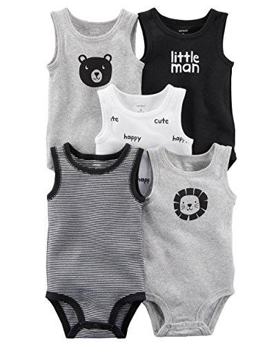5 Pack Bodysuit Set (Carter's Carters' Baby Boys 5 Pack Bodysuit Set, Animal Sleeveless, 24 Months)