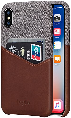 lopie [Sea Island Cotton Series Slim Card Case Compatible for iPhone Xs 2018 / iPhone X/10 2017, Fabric Protection Cover with Leather Card Holder Slot Design, Dark Brown (Dark Case Brown Leather)