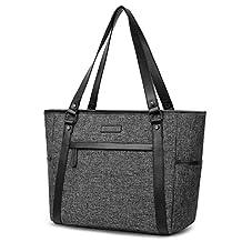 15.6 inch Laptop Tote Bag Lightweight Shoulder Bag for Women Large Capacity Business Briefcase Durable Nylon Travel Computer Tote Casual Shopping Handbag Multi-Function Zipper Work Satchel Bag,Black