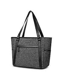 15.6 inch Laptop Tote Bag Lightweight Shoulder Bag for Women Large Capacity Business Briefcase Durable Nylon Travel Computer Tote Casual Shopping Handbag Multi-Function Zipper Work Satchel Bag,Black