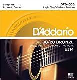 D'Addario EJ14 80/20 Bronze Acoustic Guitar Strings, Light Top/Medium Bottom/Bluegrass, 12-56
