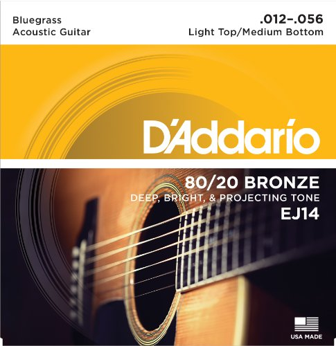 Guitar Strings Bluegrass (D'Addario EJ14 80/20 Bronze Acoustic Guitar Strings, Light Top/Medium Bottom/Bluegrass, 12-56)