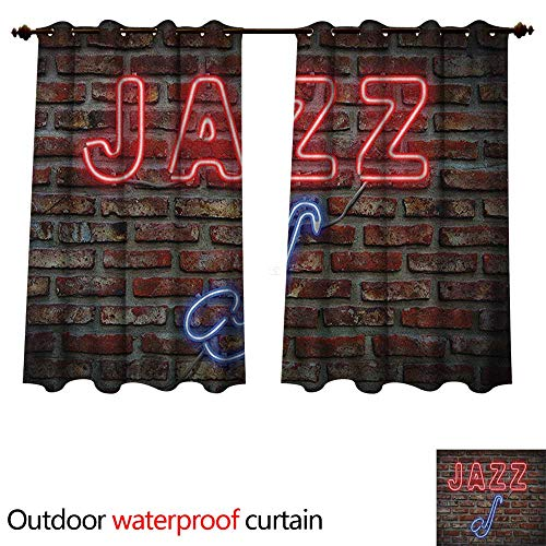 Anshesix Music 0utdoor Curtains for Patio Waterproof Image of Alluring Neon All Jazz Sign with Saxophone Instrument on Brick Wall Print W84 x L72(214cm x 183cm)