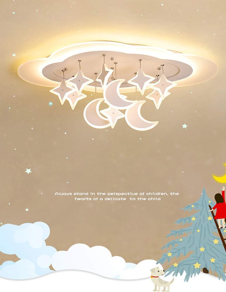 38cm30w Kinderlampe Schlafzimmer Deckenleuchte Deckenlampe Pendelleuchte Dimmbar Mit Fernbedienung Moderne led kreative Wei/ß Eisen Acryl Sterne Mond Wolke Kinderzimmer Dekoration H/ängelampe,63
