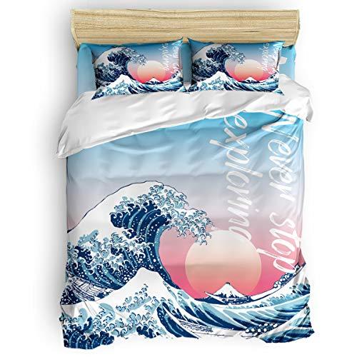 Queen Bedding Duvet Cover 4 Piece Set,World Famous Painting Under The Wave Off Kanagawa Japanese Ukiyo-E Thirty-Six Views Of Mount Fuji Bedding Sheet Set1 Flat Sheet 1 Comforter Cover 2 Pillow Shams ()