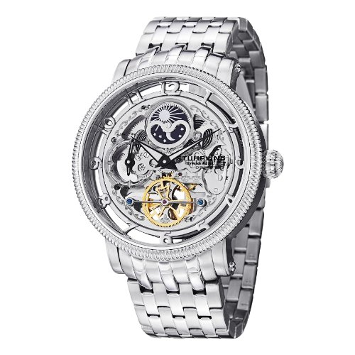 (Stührling Original Mens Automatic Watch, Skeleton Watch Analog Dial, Silver Accents, Dual Time, AM/PM Sun Moon, Stainless Steel Bracelet, 3922 Watches for Men Collection)