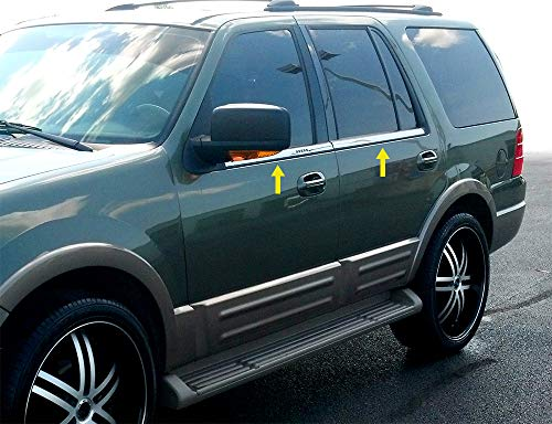 MAXMATE Made in USA! Works with 2003-2015 Ford Expedition W/Keypad 4PC Stainless Steel Chrome Window Sill Trim Overlay (Expedition Chrome Accessories)