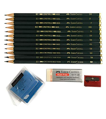 Faber-Castell 9000 Art Graphite Sketch Best Gifts Wood Pencil Sets 12 Counts With 12 Degree of Hardness (2H, H, F, HB.) + 1 Kneaded Art Eraser + 1 Large Dust Free Eraser + 1 Faber Sharpener ()