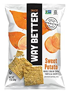 Way Better Snacks Tortilla Chips, Simply Sweet Potato, 1 Ounce (Pack of 12)