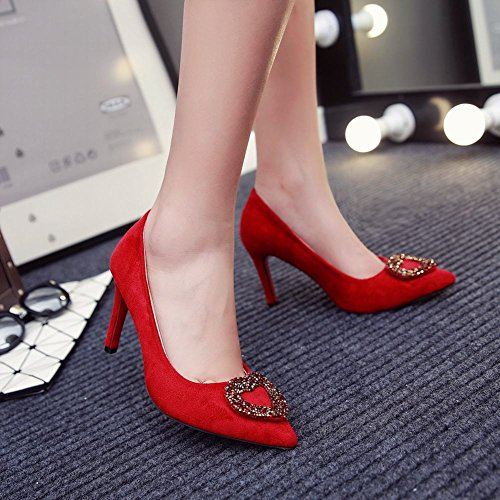 Mee Shoes Damen reizvoll Stiletto Nubukleder Strass spitz Pumps Rot