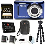 Kodak PIXPRO Friendly Zoom FZ53 (Blue) + Sony 64GB SDHC w/wallet, SwissGear Case,Spare Battery, Spider Tripod