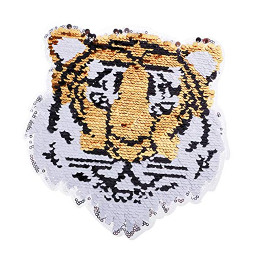 Tiger Reversible Change Color Sequins Sew on Patches for Clothes DIY Crafts