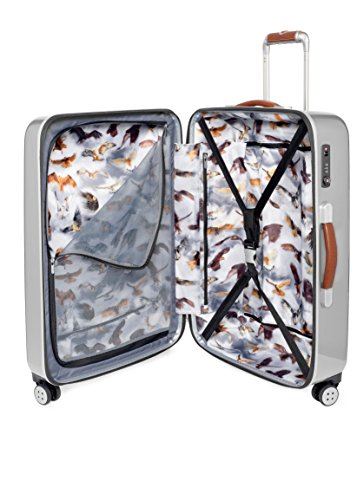 Ted Baker Luggage Herringbone Hardside 28' Spinner Lightweight Rolling Suitcase (One Size, Silver Brown Herringbone)