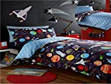 Kidz Club Planets Double Bed Duvet cover and 2 Pillowcase Bed Set Bedding for Boy's Sun Mars and Moon, Black