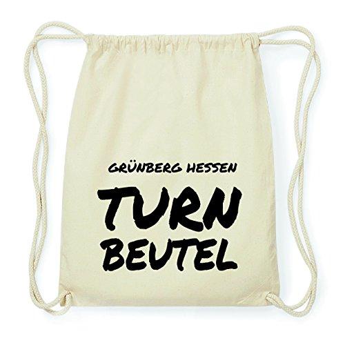 JOllify GRÜNBERG HESSEN Hipster Turnbeutel Tasche Rucksack aus Baumwolle - Farbe: natur Design: Turnbeutel
