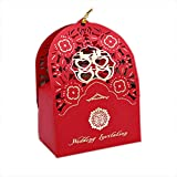 autulet Large Charmed Red Wedding Gifts For Guests Unique Wedding Favours Candy Boxes Chinese Style For 20 Pieces (Candies or chocolates not included)