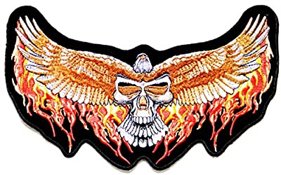 "9.75""x5.5"" Big Jumbo Large Phoenix Hawk Bald Eagle Of Dead Skull Ghost Devil Wings Lady Rider Biker Punk Rock Hippie Retro Tatoo Logo Back Motorcycles Jacket T-shirt Patch Sew Iron on Embroidered Sign Badge Costume"
