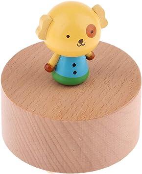 Sharplace Caja de Música Giratoria de Madera con Figuras de Animales Modelo Mini Instrumentos Musicales Decoraciones para Casa de Muñeca - Perro Manchado: Amazon.es: Juguetes y juegos