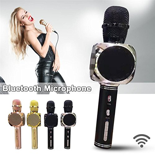 Karaoke Microphone Bluetooth Wireless Portable, Perfectshow YS-63 Karaoke Microphone with Bluetooth Speaker, Recording Function, Call Function,Compatible with Android/iOS / PC/Smartphone by perfectshow