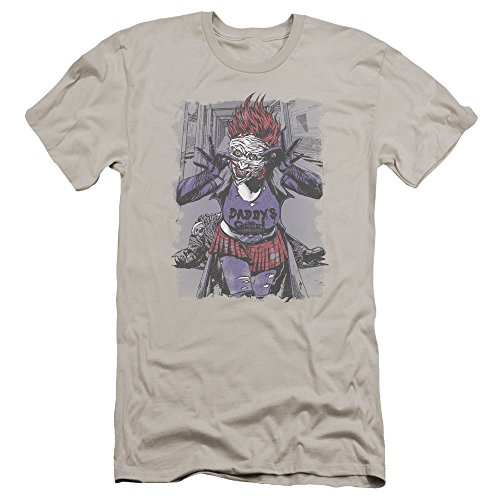 JLA - Mens Jokers Daughter Premium Slim Fit T-Shirt, Size: Large, Color: Silver