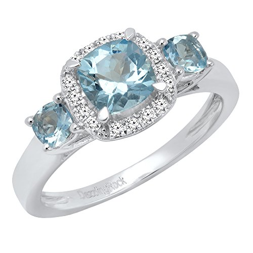 Dazzlingrock Collection 14K 6 MM Cushion Aquamarine amp Round Diamond Bridal 3 Stone Engagement Ring White Gold Size 8