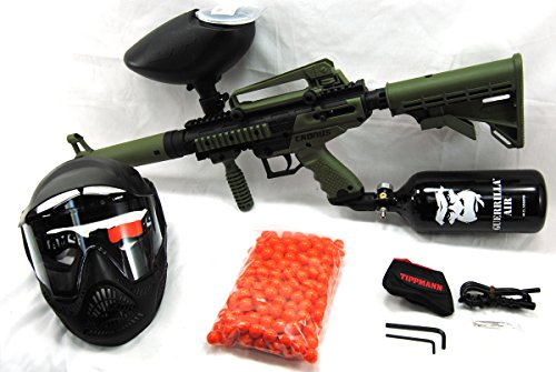 Tippmann Olive Cronus with Guerrilla 48/3000 HPA Tank, 200 Rd Hopper, Mask and 200 Rds of Paint
