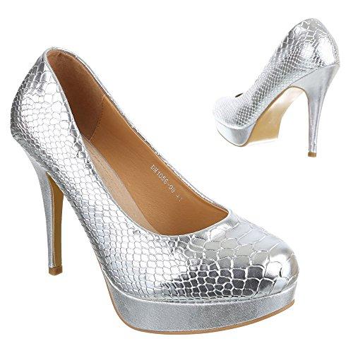 High Heel Pumps Ital Pumps Heels Silber Pumps High Design Heel Pfennig Damenschuhe Stilettoabsatz High 57qSUY7