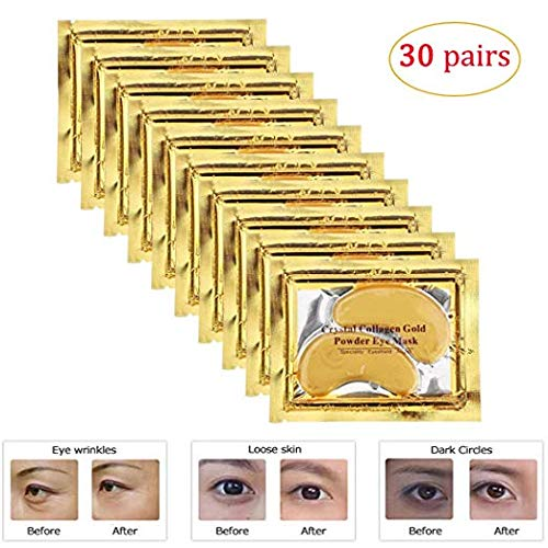 Rotus 30 Pairs Gold Eye Mask Power Crystal Gel Collagen Masks, Great For Anti Aging, Dark Circles & Puffiness (Purederm Collagen Eye)