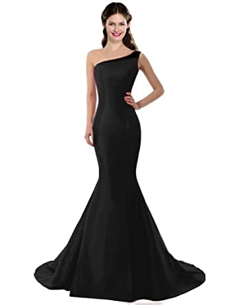 5ee54b95671133 Color e Dress Women's Elegant One Shoulder Prom Dresses Wedding Party Long Formal  Dresses Size2 Black