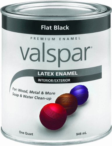 Valspar 65050 Premium Interior/Exterior Latex Enamel, 1-Quart, Flat Black (Latex Flat House Paint Exterior)