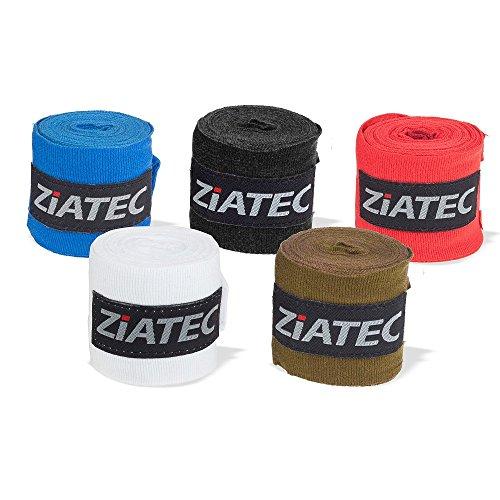 Ziatec (2er Set) Profi Box-Bandagen 3 Meter, Hand Wraps, Boxbandage, Handgelenkbandage, Handbandagen, Wickelbandage mit Daumenschlaufe und Klettverschluss, Größe:Universalgröße;Farbe:blau