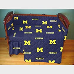 Michigan 5 piece Baby Crib Set by College Covers