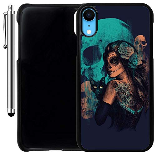 Custom Case Compatible with iPhone XR (Day of The Dead Women Black Cat and Skull) Plastic Black Cover Ultra Slim | Lightweight | Includes Stylus Pen by Innosub -