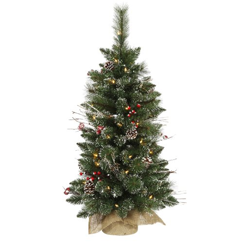 Vickerman B106237 3' Snow Tipped Pine and Berry Artificial Christmas Tree with 50 Clear Lights