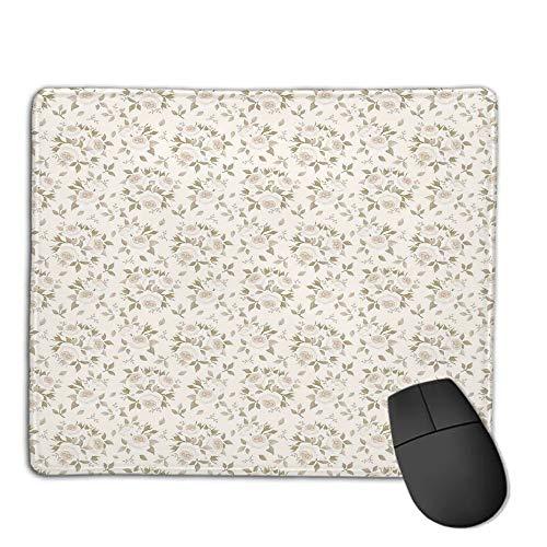(Mouse Pad Bundle Stitched Edges Premium Waterproof Mouse Mat Pad,Ivory,Flourished Rose Flower Blossoms Petals Motif Essence Elegance Classic Design Decorative,Coconut Beige,Consoles More Enjoy)