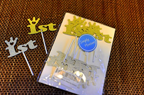 Simply Pleasant - 1st Silver and Gold Birthday/Anniversary Cupcake Topper Decoration, First Birthday Party, First Anniversary SAFE-PLASTIC STICK - 12CT