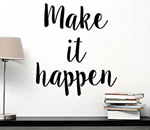 Make it Happen wall decal inspirational saying motivational quote gym wall art saying office decor lettering