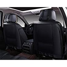 Icegirl Universal Needlework PU Leather Front & Rear Car Seat Cushion Cover For Jeep Cherokee Compass Grand Cherokee Patriot Wrangler JK & Unlimited Liberty 5 Seats (Black&White)