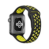Kobwa Soft Silicone Nike and Sport Style Replacement Band For Apple Watch Series 1 and 2, (42mm black+brightyellow)