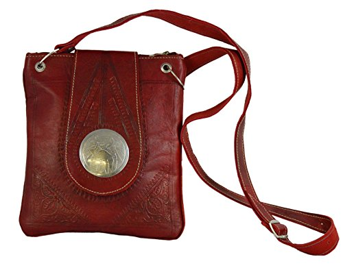 Moroccan Bags and Purses Hand Made Leather Shoulder Bag Medium Red