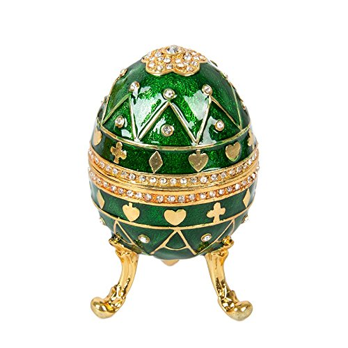 QIFU-Hand Painted Faberge Egg Style Decorative Hinged Jewelry Trinket Box Unique Gift for Home Decor