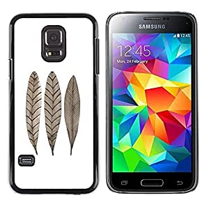 Paccase / SLIM PC / Aliminium Casa Carcasa Funda Case Cover para - Feather Leaf Fall White Brown Minimalist - Samsung Galaxy S5 Mini, SM-G800, NOT S5 REGULAR!