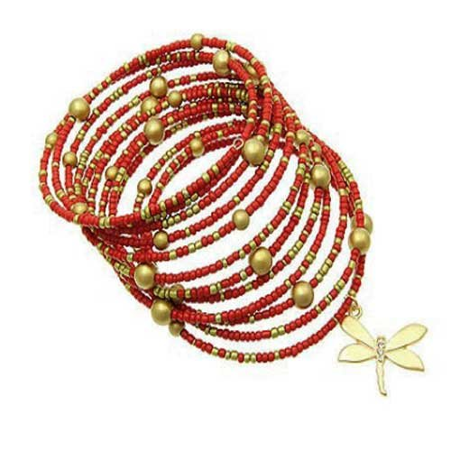 Red and Gold Beaded Coil Bracelet with Dragonfly (Beaded Dragonfly)