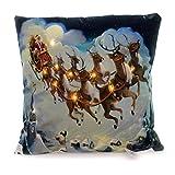 Christmas SANTA AND REINDEER LED PILLOW Fabric Holiday Light Iplisr