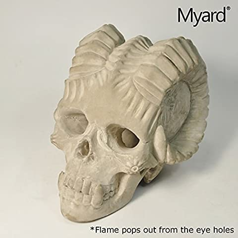 Myard DELUXE Demon Fire Pit Skull Gas Log for Natural Gas / Liquid Propane Fireplace or Fire Pit Halloween Decor (Qty 1, - Deluxe Natural Gas Grill