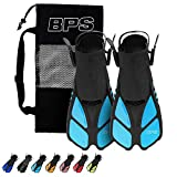 BPS Short Adjustable Swim Fins - Open-Toe and Open-Heel Design - for Diving, Snorkeling, Scuba Diving - Swim Flippers for Kids and Adults - Unisex - Comes with Bag for Storage (Light Blue - S/M)