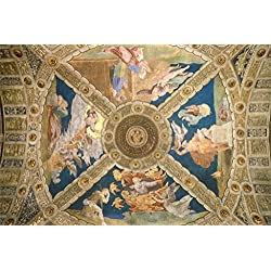 Raphael Ceiling Of The Room Of Eliodorus 1513 Italian High Renaissance Fresco Art Poster 18x12